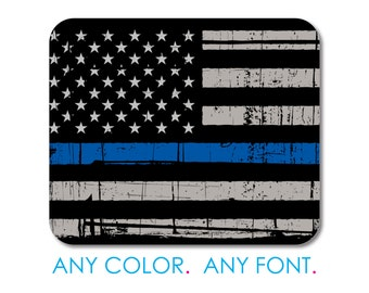 """Custom Mouse Pad - Personalized Monogram  - 1/4"""" Thick - Full Color Mousepad - Any Design - Thin Blue Line US Flag Law Enforcement Old"""