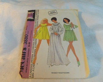 Womens Baby Doll Pajamas and Long Nightgown, Size Medium, Uncut Pattern, Vintage McCalls 3880