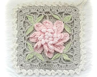 Peony Cottage Potholder, Crocheted Floral Potholder, Square Crochet Pot holder, Shabby Chic Decor Potholders