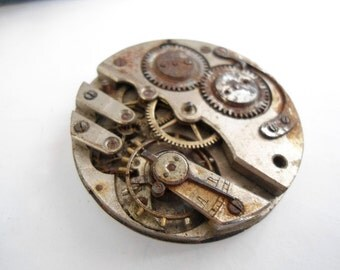 Antique mechanical watch movement, watch parts, vintage, steampunk, jewelry, decoration, jewellery, rusty look