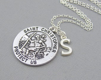 Silver St Christopher necklace, initial necklace, personalized jewelry, monogram necklace, protection jewelry, travel gift, patron saint