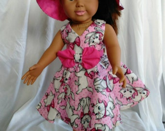 18 in doll clothes, dress and hat set
