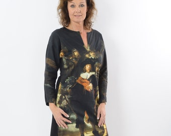 Dress with pattern of old masters