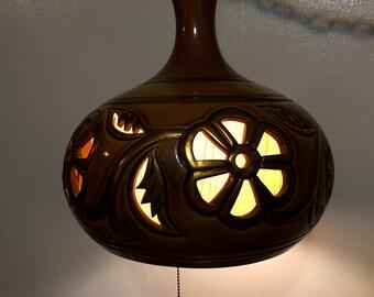 1960's Mid Century Modern Ceramic Tulop Swag Light Hanging Lamp Vintage 1970's