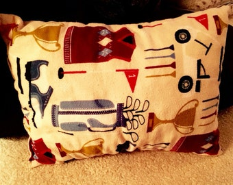 Original Limited Edition Handmade Crushed Foam Soft and Cozy Children's Pillow With Custom Golf Pattern----Available for 1 Week Only