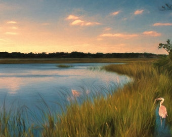 Marsh Sunset Blue Heron Marsh landscape, Coastal Art Print, Beach House, Coastal Decor, Marsh Painting, Beach Cottage Art, Nautical Decor
