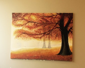 Original painting, fall painting, Original Swarovski Fall tree painting, Swarovski crystal art, painting with crystals