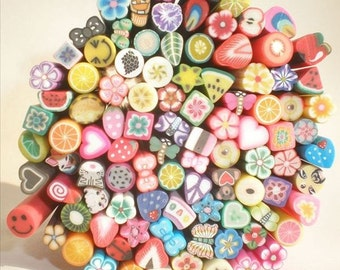 5pcs Polymer Clay Cane Slices Mix Miniature Fimo Sweets Decoden Kawaii Fimo Nail Art Deco (by random)