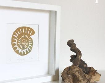 Foil engraving Monotype original linoleum. Ammonites. 20 x 20 cm (12 x 12 cm inside) with/without frame