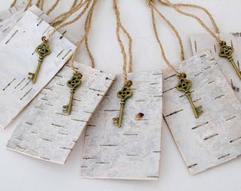 10 Natural Birch Bark Tags Key Favor Tags Thank you tags Wedding Favors Gift tags Rustic Wedding Gift tag Rustic Decor wooden Rustic Tags