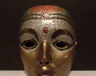 Vintage Brass Mask from India, (# 805/48)