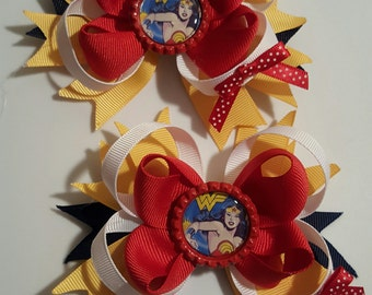 Wonder woman Girls Hair bows.  Set of 2