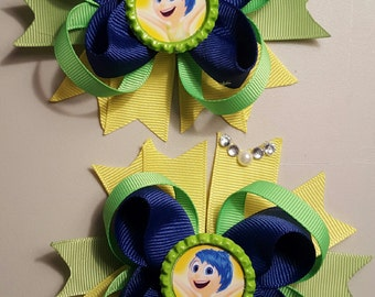 Inside out Joy Girls hair Bows.  Set of 2