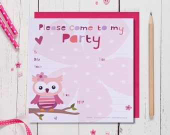Owl Birthday Party Invites