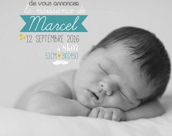Petit Marcel birth announcement & stationery