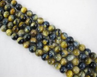Tiger Eye Natural Gemstone Blue/Gold Color Smooth Round Shape 15.5''per Strand