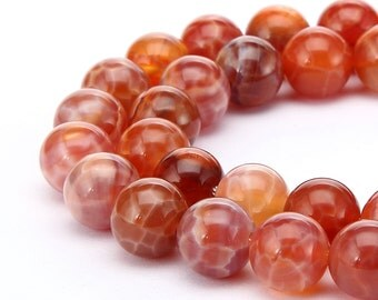 Smooth Well Polish Fire Agate Gemstone Round Beads Approxi 16Inches per Strand