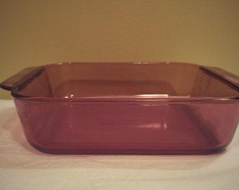 Vintage Sqaure Purple Amethyst Cranberry Pyrex Caserole Baking Dish with Handles 8x8 2qt 222-R