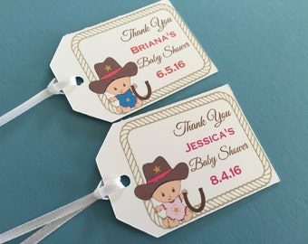 Western Baby Shower Favor Tags, Cowboy or Cowgirl Baby Shower favor tags,Party Favor tags (BTAG-10)