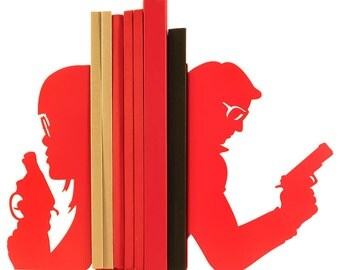 Pair of large red bookends