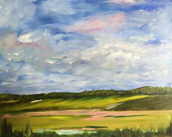 impressionistic landscape oil painting on 8x10 inch panel board