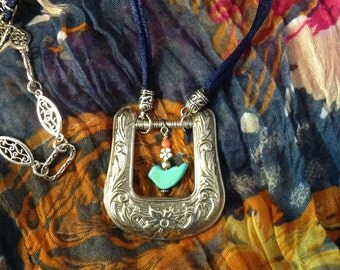 Blue Bird Buckle Necklace Re-purposed