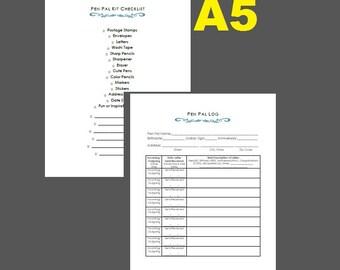 Pen Pal Kit Checklist and Pen Pal Log A5 Size
