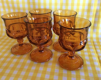 Vintage Tiffin small goblets tumblers thumbprint pattern amber stemware cordials Medieval Gothic style