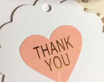 Pink & Gold Heart Thank You Stickers Pk20