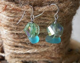Green Swarovski crystals and blue sea glass