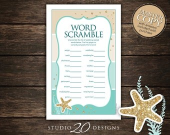 Instant Download Beach Bridal Shower Word Scramble Game, Printable Gold Glitter Aqua Bridal Word Scramble, Beach Bridal Word Scramble 25A