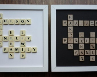 10x10 Frame Plastic/Wooden Scrabble Art Picture Plain Personalised Family Wedding Anniversary Engagement Birthday