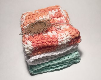 Large Crochet Dishcloths / Washcloths / 100% cotton