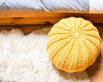 Knitted pouf / ottoman WAVES 44 colors