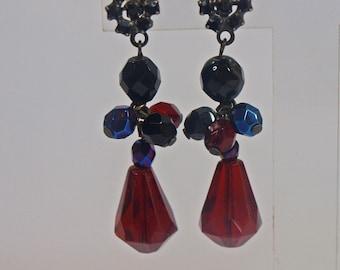 Vintage, Rhinestone, Droplet Earrings (2470)