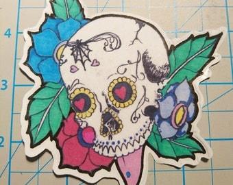 SugarSkull with Flowers Sticker