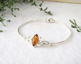 Celtic Knot Baltic Amber Bangle, Baltic Amber Bracelet, Honey Baltic Amber from Poland, Inclusion Fossil, Sterling Silver Bangle