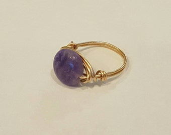Bronze Wire Ring with Decorative Bead