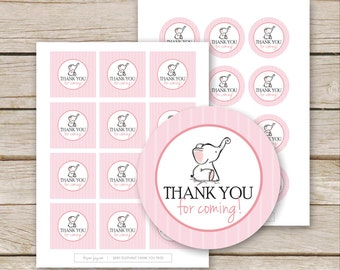 Pink Elephant Baby Shower Favor Tags Thank You - Printable Download - Pink Girl Baby Shower Thank You Tags