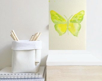 Lemon yellow butterfly, sapa green butterfly, ORIGINAL watercolour painting, animal art, simple watercolour, abstract art, home decor