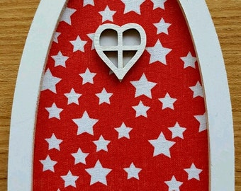 Red and white star Fairy door