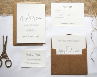 Printable Wedding Invitation - Forever & Always / Minimal Modern Delicate DIY Wedding Stationery Suite
