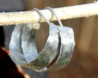 Unique Wide Silver Hoop Earrings