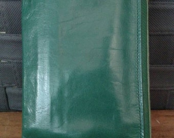 Vintage emerald green leather wallet
