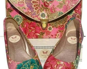 Customised gorgeous flat comfortable shoes with Japanese fabric. UK size 6