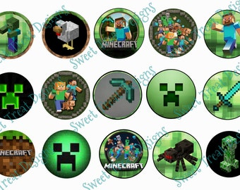 Mine Craft Inspired Bottle Cap Images Set #2 (15 Images) - Digital Format