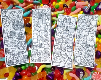 DIGITAL DOWNLOAD, Printable Dessert Coloring Bookmarks, Candy Bookmarks, Birthday Party Favor, Book Lover Gift DIY, Easter Basket Stuffer