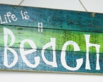 Life's A Beach Wall Sign-Rustic Wall Sign-Pallet Sign-Beach Room Decor