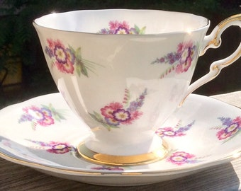 Pretty In Pink-Royal Standard Pedestal Teacup and Saucer