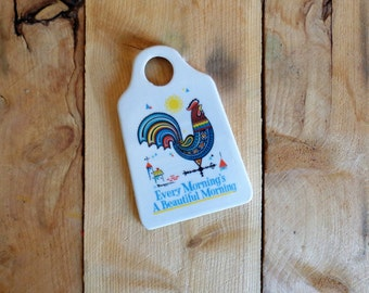 Berggren Porcelain Grater Vintage Rooster Kitchen Decor Folk Art Swedish